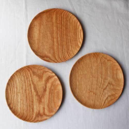 木製プレート 丸皿 18cm パン皿 甲斐幸太郎 レッドオーク 日本製 トレイ おしゃれ|cayest|03