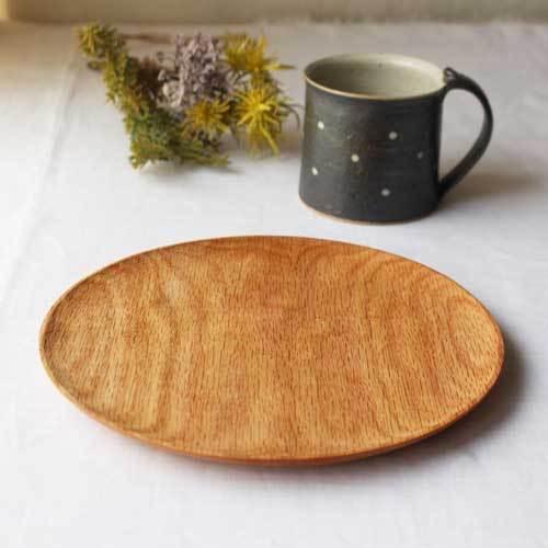 木製プレート 丸皿 21cm パン皿 甲斐幸太郎 レッドオーク 日本製 トレイ おしゃれ|cayest|02