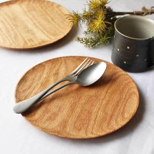 木製プレート 丸皿 21cm パン皿 甲斐幸太郎 レッドオーク 日本製 トレイ おしゃれ|cayest|03