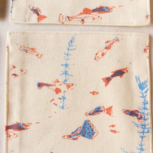 布コースター グッピー 正方形 綿100% 熱帯魚 aosansyo シルクスクリーン cayest 03