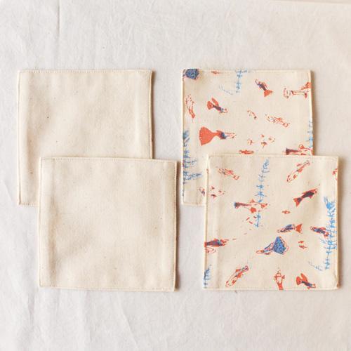 布コースター グッピー 正方形 綿100% 熱帯魚 aosansyo シルクスクリーン cayest 04