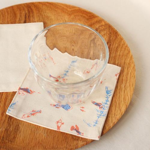 布コースター グッピー 正方形 綿100% 熱帯魚 aosansyo シルクスクリーン cayest 05