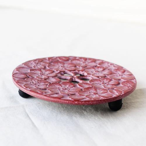 瓶敷き 桜 10.5cm 南部鉄器 桜赤/桜緑 お土産に人気 鍋敷き|cayest|04