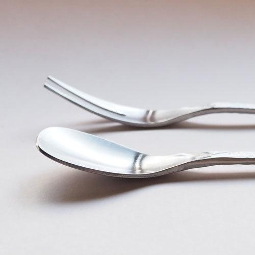 槌目 白 ティースプーン 二股フォーク ステンレス カトラリー 日本製 おしゃれ|cayest|04