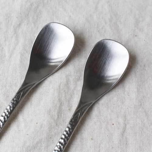 槌目 白 ティースプーン 二股フォーク ステンレス カトラリー 日本製 おしゃれ|cayest|10
