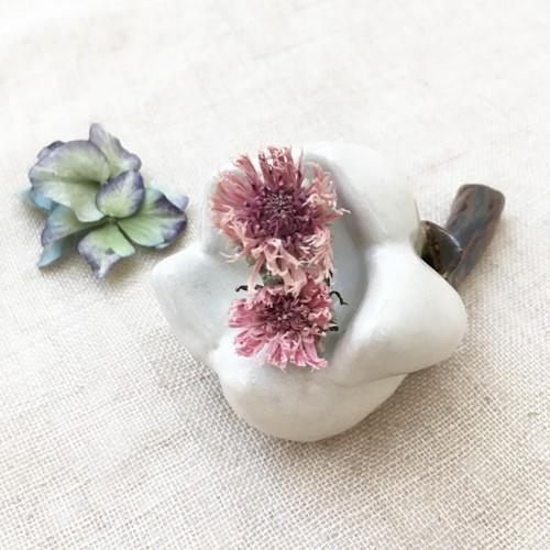 一輪挿し 花器 白い花 花瓶 陶器 ドライフラワー nakanaka50 cayest 04