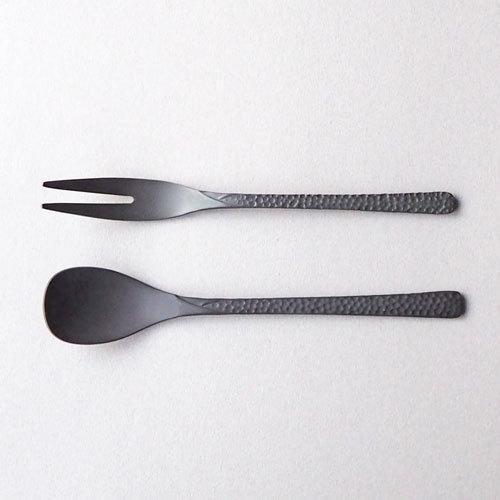 槌目 黒 ティースプーン 二股フォーク ステンレス カトラリー 日本製 おしゃれ cayest