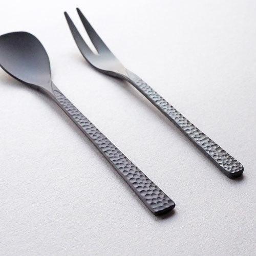 槌目 黒 ティースプーン 二股フォーク ステンレス カトラリー 日本製 おしゃれ cayest 02