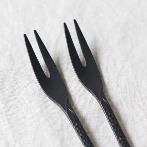 槌目 黒 ティースプーン 二股フォーク ステンレス カトラリー 日本製 おしゃれ cayest 10