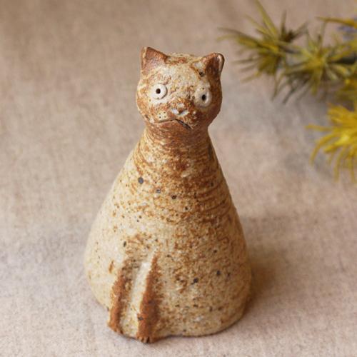 スマート猫 置きもの オブジェ 陶器 信楽焼 猫 手作り 利十郎窯|cayest|02