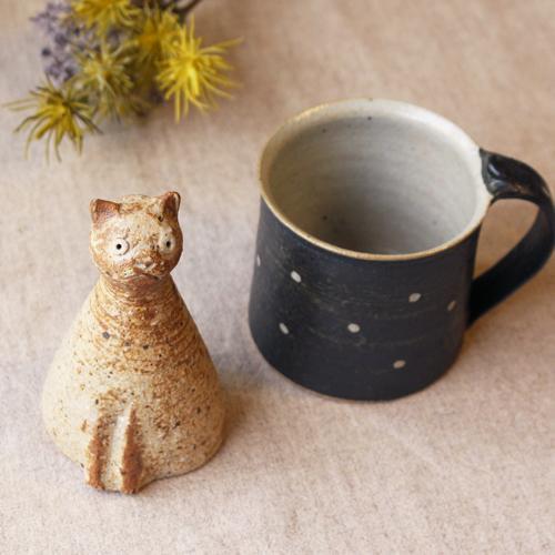 スマート猫 置きもの オブジェ 陶器 信楽焼 猫 手作り 利十郎窯|cayest|07