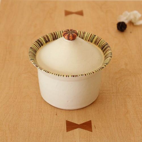 シュガーポット ふたもの 白/ボーダー 陶器 廣川みのり 砂糖入れ シンプル かわいい cayest