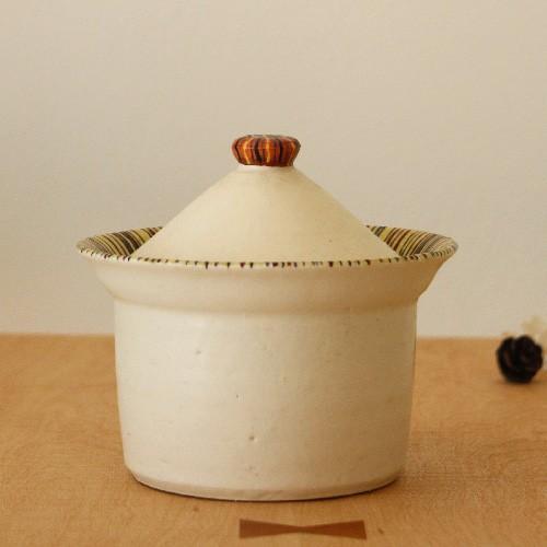 シュガーポット ふたもの 白/ボーダー 陶器 廣川みのり 砂糖入れ シンプル かわいい cayest 02