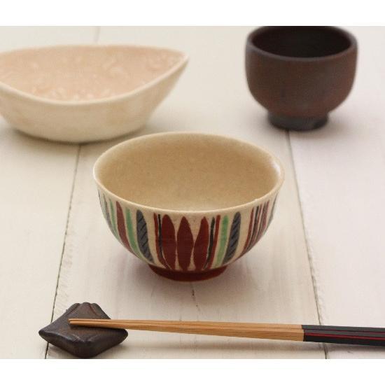 十草 縞模様 めし碗 お茶碗 11cm 廣川みのり スタンダード キナリ 絵付 陶器 おしゃれ|cayest