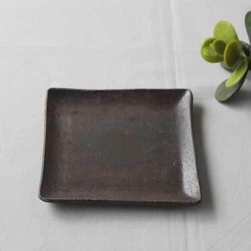 焼締 角皿 銘々皿 正方形 12cm 丹波焼 取り皿 シンプル 渋め 和食器 cayest