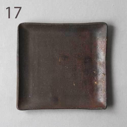焼締 角皿 銘々皿 正方形 12cm 丹波焼 取り皿 シンプル 渋め 和食器 cayest 14