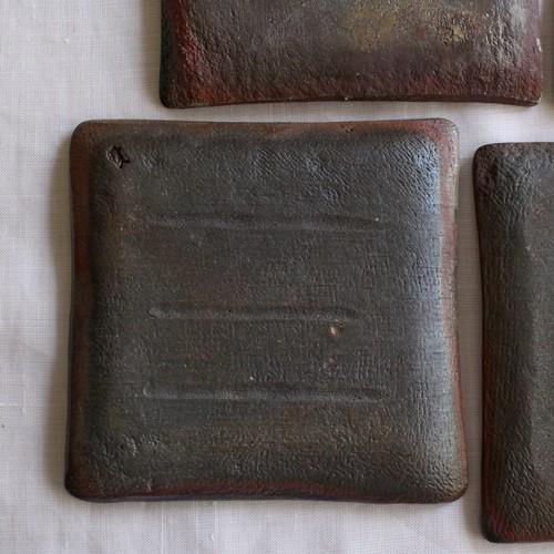 焼締 角皿 銘々皿 正方形 12cm 丹波焼 取り皿 シンプル 渋め 和食器 cayest 05