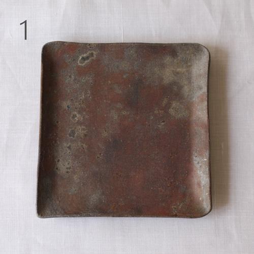焼締 角皿 銘々皿 正方形 12cm 丹波焼 取り皿 シンプル 渋め 和食器 cayest 08
