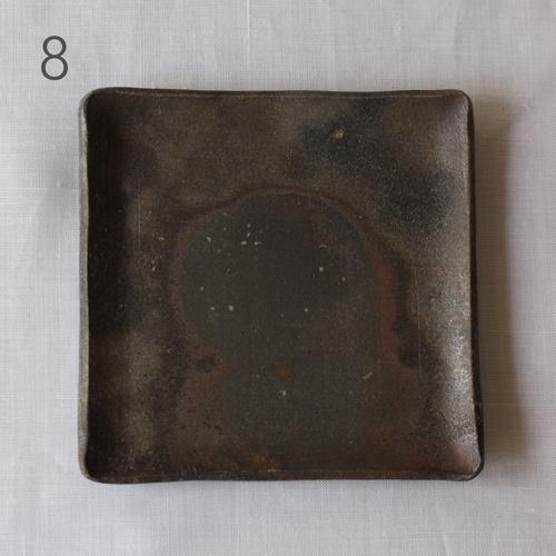 焼締 角皿 銘々皿 正方形 12cm 丹波焼 取り皿 シンプル 渋め 和食器 cayest 10