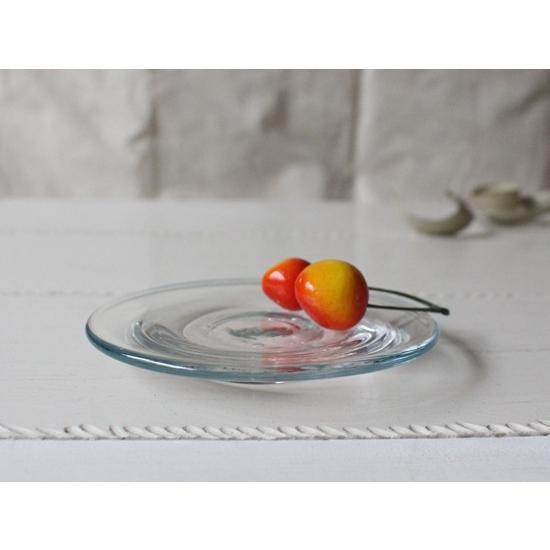ガラス小皿 丸皿12cm 青フチ tonari シンプル 銘々皿 吹きガラス 手作り ガラス食器 cayest