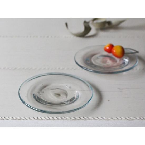 ガラス小皿 丸皿12cm 青フチ tonari シンプル 銘々皿 吹きガラス 手作り ガラス食器 cayest 02