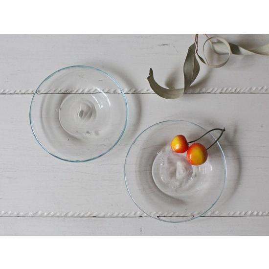ガラス小皿 丸皿12cm 青フチ tonari シンプル 銘々皿 吹きガラス 手作り ガラス食器 cayest 04