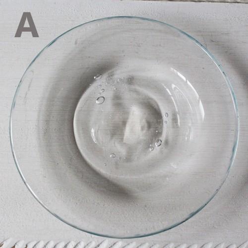 ガラス小皿 丸皿12cm 青フチ tonari シンプル 銘々皿 吹きガラス 手作り ガラス食器 cayest 06