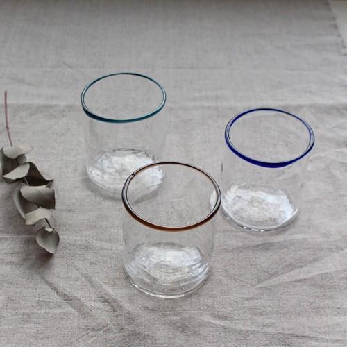 円筒型グラス コップ 色フチ 吹きガラス tonari ガラス食器 口巻きグラス|cayest|02
