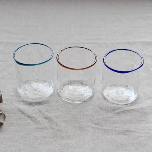 円筒型グラス コップ 色フチ 吹きガラス tonari ガラス食器 口巻きグラス|cayest|03