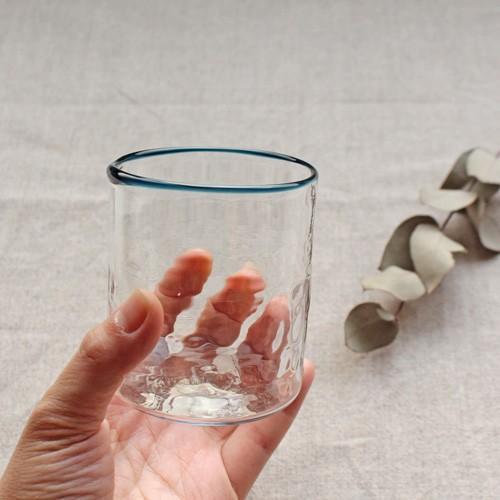 円筒型グラス コップ 色フチ 吹きガラス tonari ガラス食器 口巻きグラス|cayest|04