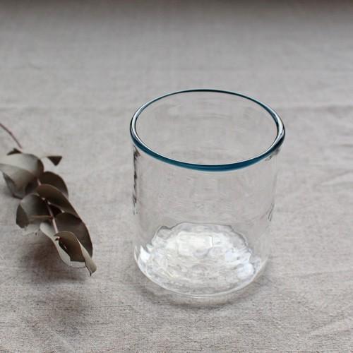 円筒型グラス コップ 色フチ 吹きガラス tonari ガラス食器 口巻きグラス|cayest|06
