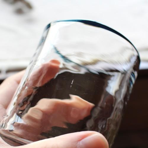 円筒型グラス コップ 色フチ 吹きガラス tonari ガラス食器 口巻きグラス|cayest|07