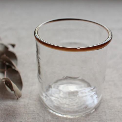 円筒型グラス コップ 色フチ 吹きガラス tonari ガラス食器 口巻きグラス|cayest|09