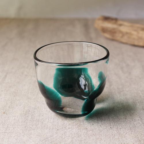 大玉水玉のコップ グラス 吹きガラス 緑 手びねり tonari ガラス食器 3dot glass|cayest|02