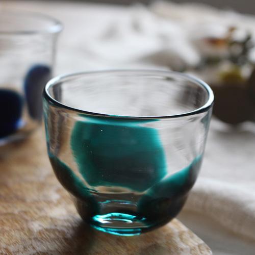 大玉水玉のコップ グラス 吹きガラス 緑 手びねり tonari ガラス食器 3dot glass|cayest|04