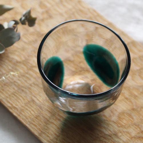 大玉水玉のコップ グラス 吹きガラス 緑 手びねり tonari ガラス食器 3dot glass|cayest|05