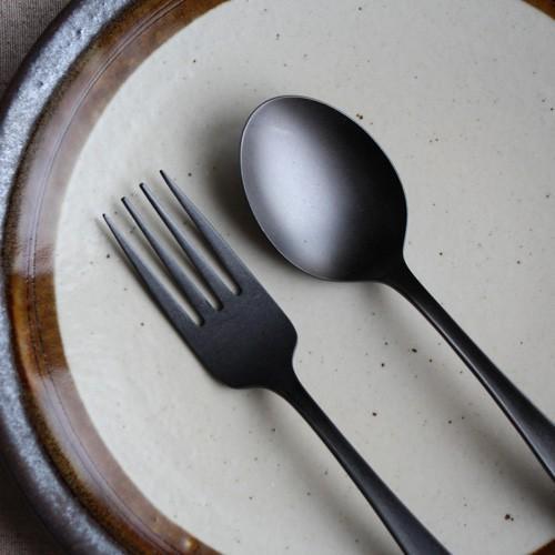 黒マット デザートスプーン17cm デザートフォーク18cm カレースプーン ステンレス 日本製 おしゃれ cayest
