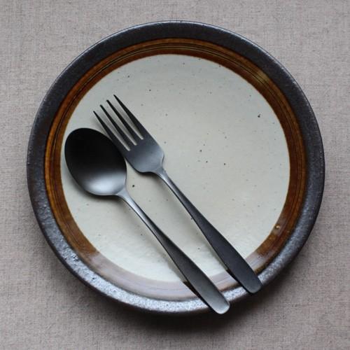 黒マット デザートスプーン17cm デザートフォーク18cm カレースプーン ステンレス 日本製 おしゃれ cayest 06