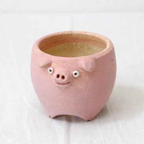 植木鉢 ピンク ブタ 小 陶器 動物 かわいい 多肉 信楽焼 利十郎窯 cayest 02