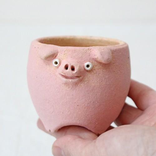 植木鉢 ピンク ブタ 小 陶器 動物 かわいい 多肉 信楽焼 利十郎窯 cayest 03