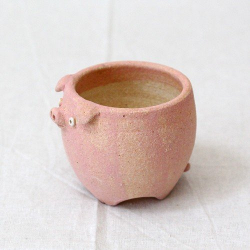 植木鉢 ピンク ブタ 小 陶器 動物 かわいい 多肉 信楽焼 利十郎窯 cayest 04