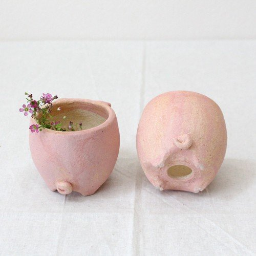 植木鉢 ピンク ブタ 小 陶器 動物 かわいい 多肉 信楽焼 利十郎窯 cayest 07