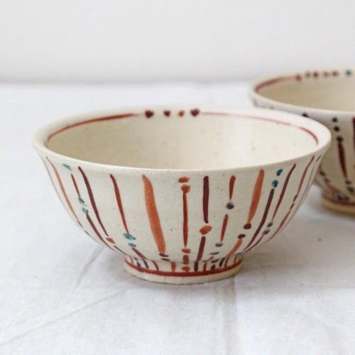 玉十草 ストライプ めし碗 お茶碗 11.5cm 廣川みのり 縞模様 キナリ 和食器 陶器|cayest