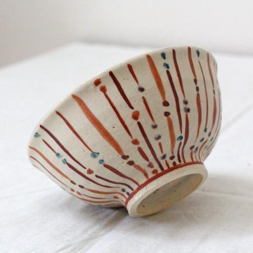 玉十草 ストライプ めし碗 お茶碗 11.5cm 廣川みのり 縞模様 キナリ 和食器 陶器|cayest|02