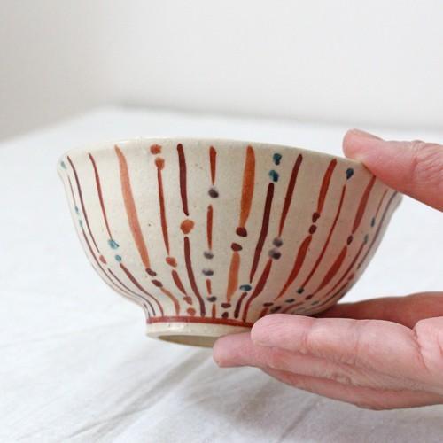 玉十草 ストライプ めし碗 お茶碗 11.5cm 廣川みのり 縞模様 キナリ 和食器 陶器|cayest|03
