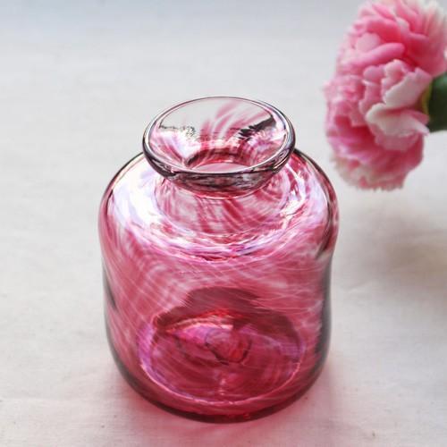 花瓶 花器 ピンク 円筒瓶型 吹きガラス 一輪挿し 手作り tonari かわいい cayest