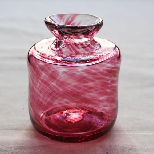 花瓶 花器 ピンク 円筒瓶型 吹きガラス 一輪挿し 手作り tonari かわいい cayest 02