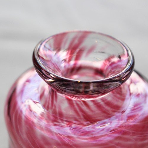 花瓶 花器 ピンク 円筒瓶型 吹きガラス 一輪挿し 手作り tonari かわいい cayest 03