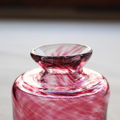 花瓶 花器 ピンク 円筒瓶型 吹きガラス 一輪挿し 手作り tonari かわいい cayest 04