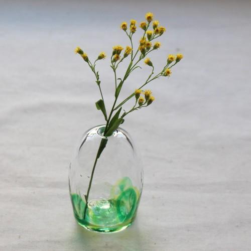 一輪挿し 手作り 花器 風船型 透明 midori 吹きガラス 花瓶 tonari|cayest